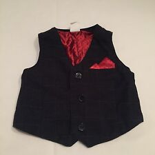 H&M black houndstooth waistcoat top baby boys clothes 6-9 Months