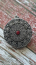 Goth ART Vampire Amulet Ruby Red Concho Antique Silver Locket Necklace Steampunk