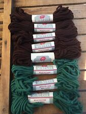 Lee's MINERVA 100% Wool Rug Yarn Brown and Green (Lot of 8)