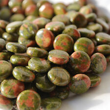 10 SEMI-PRECIOUS Gemstone Unakite DISC MEDAGLIA Perline da 14 mm