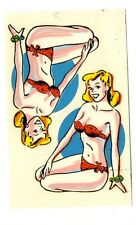 vtg impko water decal pin up girl swimsuit hot rod motorcycle helmet novelty