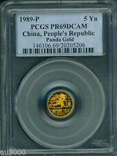 1989-P 5Y 5 YUAN G5Y Chinese PROOF GOLD PANDA 1/20 Oz. PCGS PR69 PF69 CHINA