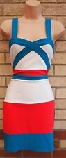 NEW YORK LAUNDRY WHITE GREEN RED BANDAGE STRIPE PARTY BODYCON TUBE DRESS 12 M