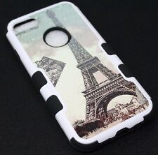For iPhone 7 - Eiffel Tower Paris Stamp Hard Soft Hybrid Protective Case Cover