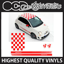 FIAT 500 ABARTH ROOF CHEQUER  & SIDE STRIPE GRAPHICS DECALS STICKER KIT SCORPION