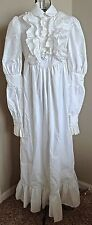 VTG1960s Cotton Mod Prairie Maxi Dress Wedding Gown Eyelet Ruffle Edwardian S