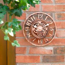 Gran Efecto De Bronce 30cm Vintage Cara Abierta Reloj Pared Jardín Exterior Interior