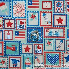 BonEful Fabric FQ Cotton Quilt Red White Blue Star Stamp American Flag July 4 US