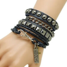 Goth Punk Leather Cuff Bangle Bracelet Wristband Multi Layers Studded Black *03