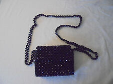 Small Black Beaded Evening Bag Purse with Beaded Shoulder Strap