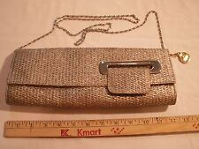 "Big Buddha Textured Basketweave Silver Gold 12"" Shoulder Handbag Clutch Purse"
