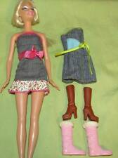 Lot 2 Barbie Doll Demin Dresses 2 Pair Boots Brown Pink Snow Shoes