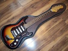 VINTAGE RARE TEISCO CHECKMATE ELECTRIC GUITAR, 4 PICKUP, GREAT PLAYER W/CASE