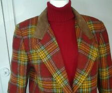 JL Colebrook Women's Red Plaid Leather  Wool Sport Coat Jacket Blazer Size M