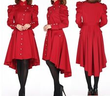 Red Victorian High Neck Hi Lo Trench Coat Steampunk Gothic Punk 24 Plus 24W 3X