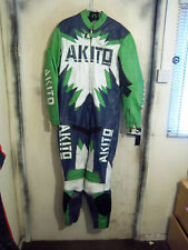VINTAGE 80'S AKITO LEATHER MOTORCYCLE 1 PIECE SUIT JACKET SIZE 46 TRACK DAYS