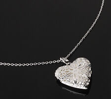 Silver love heart valentine necklace pendant lover locket chain womens gift