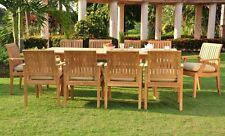 11 PC GARDEN TEAK OUTDOOR PATIO FURNITURE NEW - LAGOS DINING 10 ARMS DECK