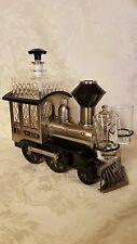 METAL TRAIN ENGINE Liquor Decanter Set 2 Shot Glasses Music Roll Out The Barrel!