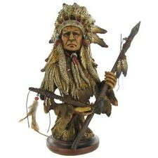 NEW Native American Chief with Pipe & Spear Statue Home decor Office Cave