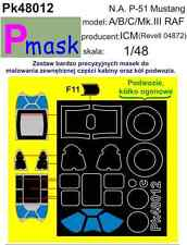 P-51B MUSTANG (MK.III) REVELL / ICM PAINTING MASK TO ICM KIT #48012 1/48 PMASK
