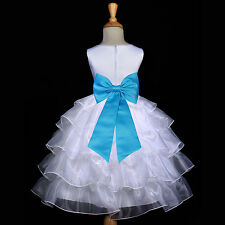 GORGEOUS SATIN ORGANZA DRESS FLOWER GIRL BIRTHDAY PAGEANT COMMUNION EASTER CHILD