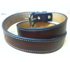 """Leather Belt Doubled And Stitched 1.5"""" Custom Length Roller Buckle New"""
