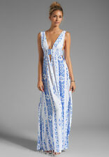 DESIGNER WHITE WITH BLUE PRINT MAXI DRESS /BEACH DRESS BY INDAH  SIZE S