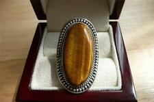 GRANDE OVALE CABOCHON GOLDEN Tigers Eye 925 Argento Sterling Massiccio RING sz R US 9
