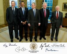 5 Presidents Signed 8X10 Jimmy Carter George W Bush Bill Clinton Barack Obama