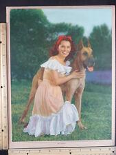 Rare Orig VTG My Champion Pretty Woman & Great Dane Dog Color Mini Poster Print