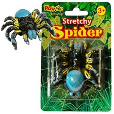 10 x STRETCHY SPIDERS 8cm ~ PRATICAL JOKE, STOCKING FILLER HALLOWEEN