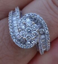 1.20ct Total diamond baguette engagment right hand ring 14k WG