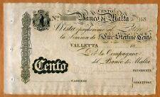 Malta, Banco Di Malta, 100 Lire, 18xx (ca 1886), P-S165, UNC   Rare, Remainder