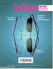 PUBLICITE ADVERTISING 046  2004  Lissac  opticien lunettes Technium Essilor