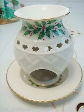 Lenox Christmas fragance holder with underplate, Holiday Pattern[2-6]
