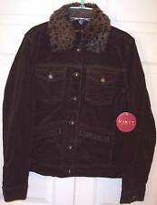 NWT Kikit Jeans Dark Brown Corduroy Jacket Coat with Leopard Print Collar, Small