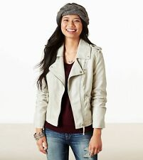NEW WOMEN'S AMERICAN EAGLE OUTFITTERS VEGAN LEATHER STONE MOTO JACKET SMALL