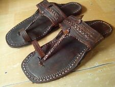 vintage look US 8 men handmade leather sandal shoes buffalo leather traditional
