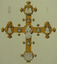 1360 Italy Lianciano Processional Cross Henry Shaw 1858 Hand Coloured Print