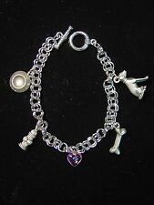 """JJ"" Jonette Jewelry Silver Pewter 'DOG Symbols' 7"" Bracelet"