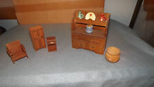 Vintage Wooden Doll House Furniture Lot of 5 Pieces Chair ~ Cabinet & More O124A
