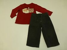Boys Childrens Place Size 24M Santa Shirt & Gap Size 18-24M Grey Fleece Pants