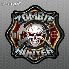 Zombie Hunter Fire Fighters Badge Sticker - Vinyl Decal car truck laptop walking