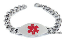 "DIABETES TYPE 1 Medical Alert ID StainlessSteel Men's Bracelet 8"" Chain GIFT BAG"