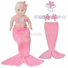 Little Mermaid Costume Newborn Baby Girls Outfit Crochet Knit Tail Photo Props