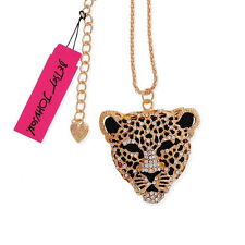 bj251 Betsey Johnson GP Crystal Panther / Leopard Pendant Necklace w/Tags