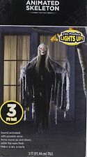 Halloween 3 ft Tall Light Up Animated Skeleton Makes Scary Sounds NIB
