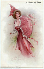 ARTIST SIGNED. FEMME MODE FASHION. LADY. CHAPEAU. HAT. OMBRELLE. UMBRELLA.