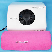 New Nail Art Dust Suction Collector + 2 Replacement Bags + Handrest Pillow 72W+H